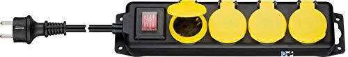 Kab24® Steckdosenleiste Gartensteckdose Mehfachsteckdose TÜV geprüft Strom Verlängerung IP44 spritzwassergeschützt mit Deckel und Schalter Wandmontage möglich (4-fach mit 5m Kabel)