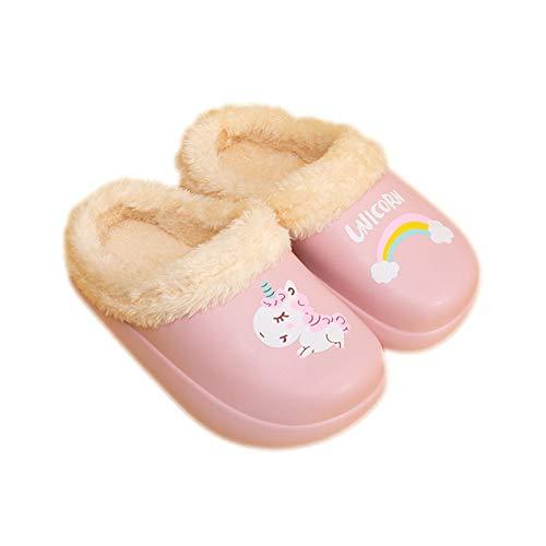 Guyarns Zapatillas de Estar por Casa para Niñas Niños Invierno Zapatillas de Interior Casa Caliente Pantuflas Suave Calentar Antideslizante Slippers(Rosa,210mm)