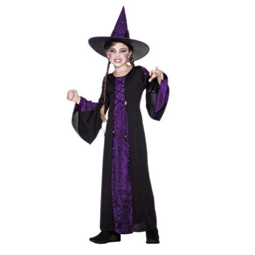 SMIFFYS Smiffy's Viola, Costume Stregato, Nero, comprende Abito e Cappello Ragazza, M-Età 7-9 anni, 25073M