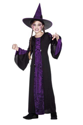 Smiffys Disfraz de brujita, Negro y Morado, con Vestido y Sombrero