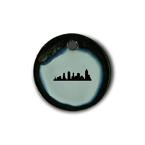 """Muy bonito colgante de cerámica """"Atlanta"""" jaspeado en marrón-azul-verde;"""