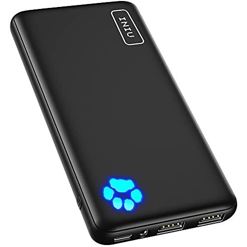 INIU モバイルバッテリー 大容量 (10000mAh 最軽量 最薄型 3台同時充電でき)【USB-C入出力ポート PSE技術基準適合 低電流モード搭載 LEDライト付き】携帯充電器 小型 アウトドア/災害/緊急用の必携品 モバイル・バッテリー iPhone 12 pro 11 X XS iPad Samsung Galaxy AirPods Pro Android 各種対応
