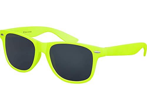 Balinco Sonnenbrille UV400 CAT 3 CE Rubber - mit Federscharnier für Damen & Herren (neongelb - smoke)