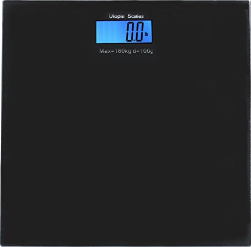 Digital Glass Bathroom Scale Black - Holds Up To 396 lbs - by Utopia Scales