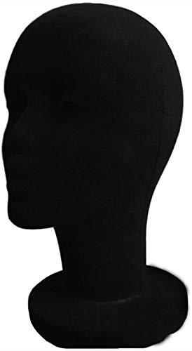 Mannequins de couture reglable Perruque, Flocage Mousse Perruque Lunettes Cheveux Chapeaux Mode Afficher l'outil Modèle de tête Noir Mannequin Porte vêtement Mannequin (Color : Black)