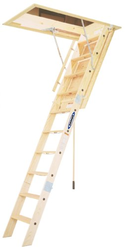 Werner WH2208 350-Pound Duty Rating Wood Folding Heavy Duty Attic Ladder, 8-Foot