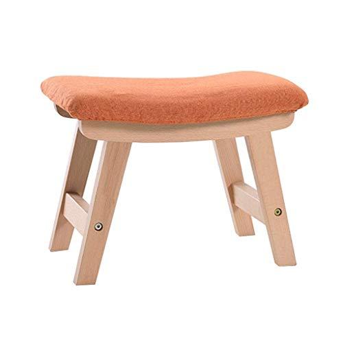 QQXX multifunctionele schoenen, elegant, eenvoudig, praktisch, van massief hout, kruk, opslag, voetensteun, gestoffeerd, stoel, zitzak, voetensteun (kleur: rood) QENG1654r-1 Qeng1654r-1