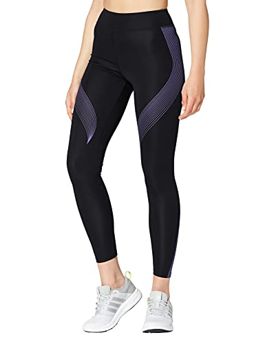 Amazon-Marke: AURIQUE Damen Sportleggings mit Print, Schwarz (Black/Dahlia Purple), 40, Label:L