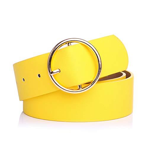 Cinturón ancho amarillo para mujer