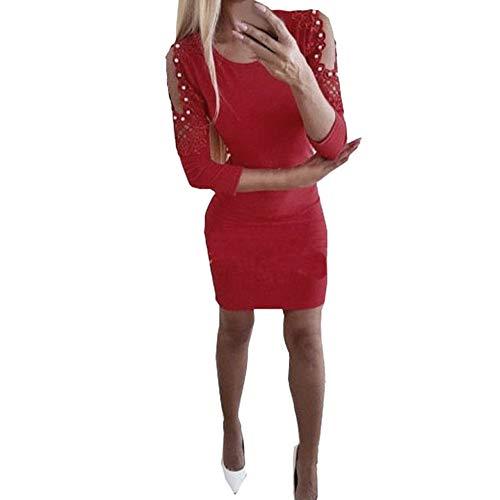 Longra Damen Kleider Elegant Kleider mit Spitzen Kleid Schulterfreie Partykleid Abendkleider Damen Sexy Langarm Etuikleid Bleistiftkleid Pencilkleid Basic Shirtkleid Pullover Kleid (XL, Rot)