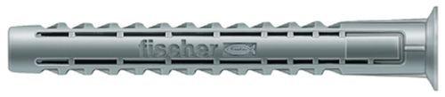fischer SX 6 x 50 R - Kraftvoller Spreizdübel mit Rand - 4-fach-Spreizung zum Befestigen von WC-Einrichtungen, Bewegungsmeldern, Briefkästen in Voll- und Lochbaustoffen - 100 Stück - Art.-Nr. 78185
