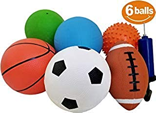 "Pack of 6 Sports Balls with 1 Pump - 5"" Soccer, 5"" Basketball, 5"" Volleyball, 5"" Playground, 5"" Knobby Ball, and 6.5"" Foot..."