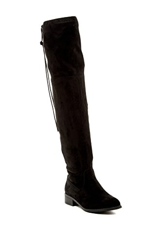 Nature Breeze Olympia-14 Over The Knee High Womens Drawstring Riding Boot Black Faux Suede (7.5)