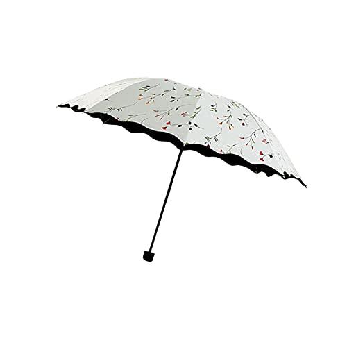 Paraguas telescópicos compactos para mujer, para viajes, plegable, anti lluvia, color blanco, protección para pesca al aire libre, transparente