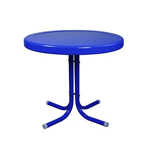 21.75-Inch Blue Retro Metal Tulip Outdoor Side Table