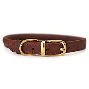 "BRONZEDOG Rolled Leather Dog Collar Soft Padded Round Rope Pet Collars for Dogs Puppy Cat Kitten Small Medium Large (Neck Size 8"" - 11"", Cognac Brown)"