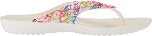 Crocs Women's Kadee II Graphic W Flip Flop, Tropical Floral/White, 8 M US