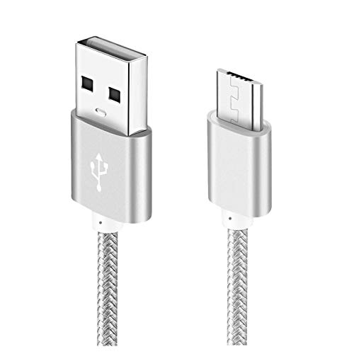 Android Charger Cable,1-Pack 6ft Micro USB Cable Cord Braided Fast Charging Phone Charger Compatible with Samsung Galaxy J3 J7 S6 S7 Edge, Tablet, LG stylo 2/3 LG G3 G4 K30 K20 Plus-Silver