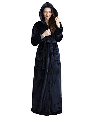 Womens Long Hooded Bathrobe Fleece Full Length Bathrobe with Hood Winter Sleepwear, Navy-L