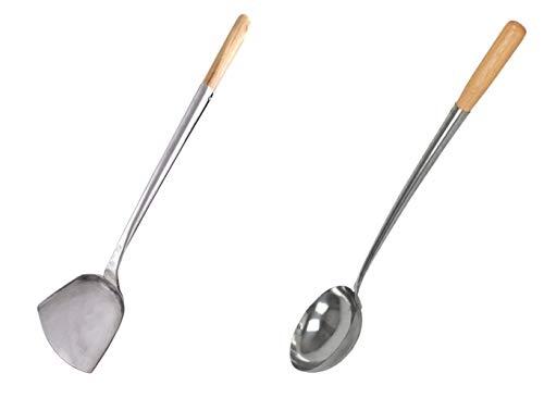 14' L. X 4' Home Use Stainless Hand-tooled Chuan & Hoak (Spatula & Ladle) Set