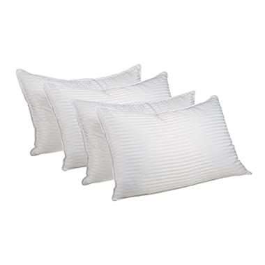 Superior White Down Alternative Pillow 4-Pack, Premium Hypoallergenic Microfiber Fill, Medium Density for Back, Stomach, and Side Sleepers - King Size, Striped White