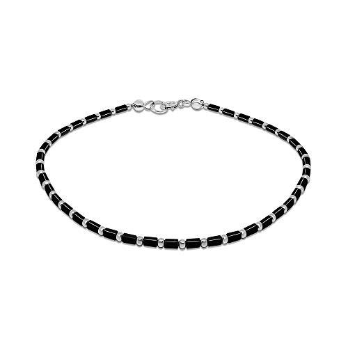 FRONAY Sterling Silver Anklet Bracelet for Women, Rainbow Multi Color Tube Stones 9