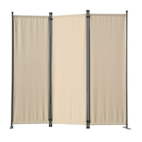 Angel Living Paravent 3tlg Sichtschutz,Faltbildschirm Raumteiler Sichtschutz aus Stahl und Polyester (Beige)