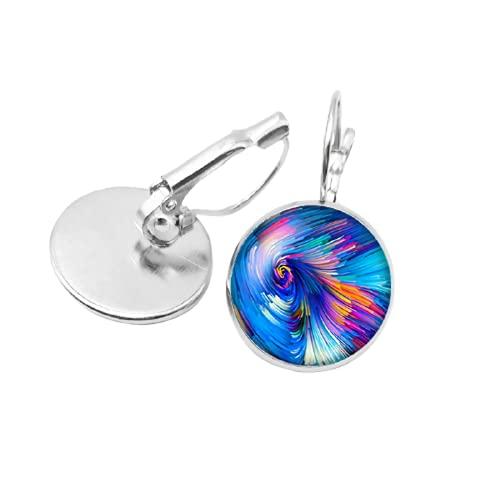 Los más vendidos de las señoras pendientes de la manera del arte de las reglas pintadas rotativas caleidoscopio cristal cabujón pendientes niños regalo joyería