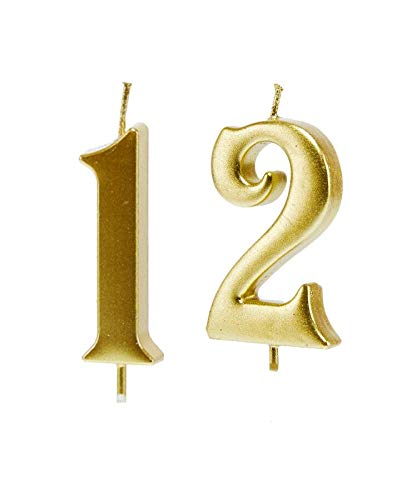 MMJJ Gold 12th Birthday Candles, Number 12 Cake Topper for Birthday Decorations