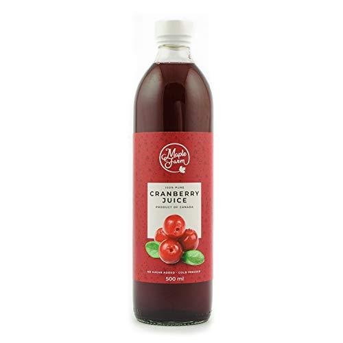 MapleFarm - 100% reiner Cranberry Saft aus frischen Cranberries - 500 ml - Reich an Antioxidantien und Anthocyanin - kaltgepresst - ohne Zuckerzusatz - Hergestellt in Kanada