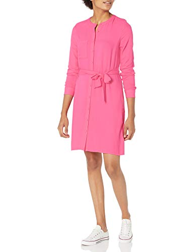 Amazon Essentials Women's Long-Sleeve Banded Collar Shirt Dress, Bright Pink, Large