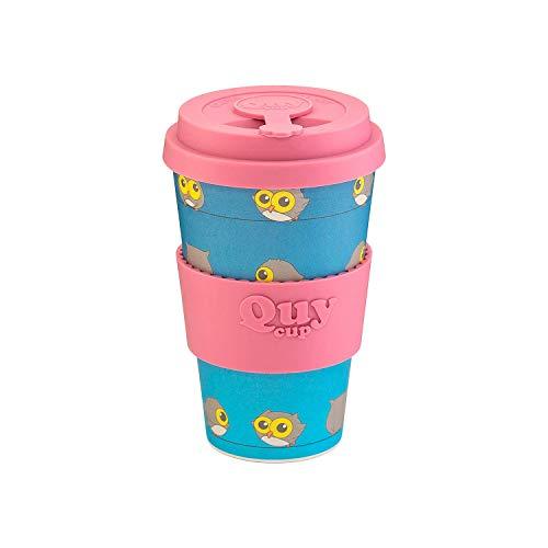 QUY CUP. Blue Owl. Kaffeebecher to Go, Travel Mug, Bamboo Cup als Mehrweg Tasse für unterwegs, Coffee to go Becher, nachhaltiger Becher mit Deckel und Silikonmanschette, 400ml.