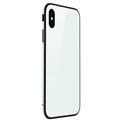 Funda® metalen frame + glazen achtervlak + TPU zachte Shell spiegelkast voor Apple iPhone X Apple iPhone X Kleur: wit