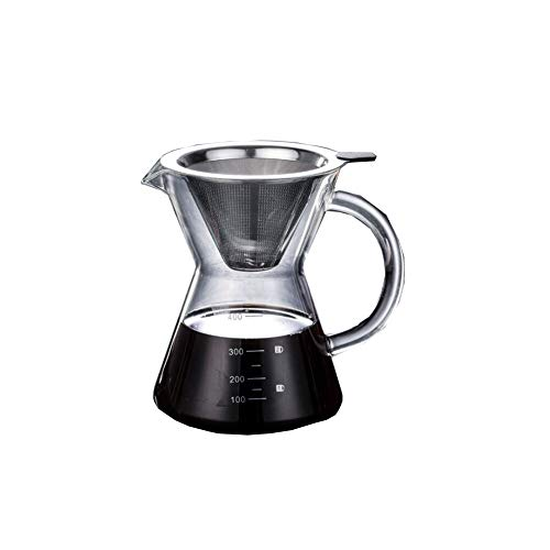 Bai You Mei Manuell Pour Over Kaffeebereiter Kaffeekanne Kaffeezubereiter Kaffeemaschine mit einem papierlosen Edelstahlfilter und Einer Glaskaraffe, Manueller Drip Kaffeebereiter 400ml