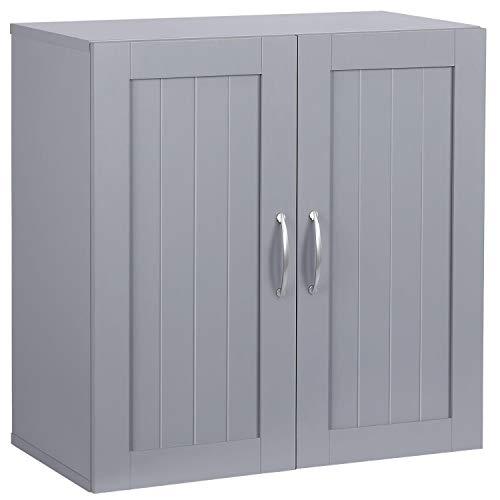 Topeakmart 2 Door Wall Cabinet, Wooden Storage Colletion with Inner Adjustable Shelf Cupboard Unit for Bathroom/Medicine/Kitchen/Laundry Dark Gray