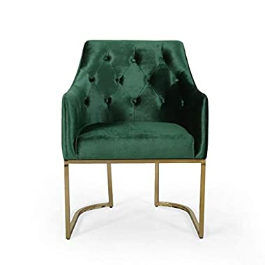 Christopher Knight Home 308959 Fern Modern Tufted Glam Accent Chair with Velvet Cushions and U-Shaped Base, Emerald and…