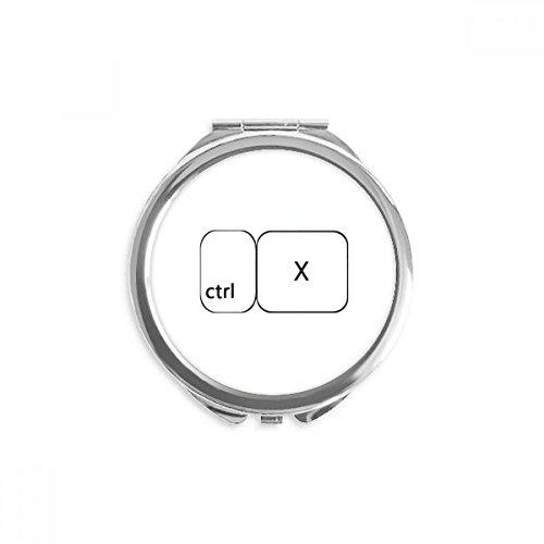 DIYthinker Símbolo de teclado Ctrl X espejo redondo portable de la mano del bolsillo del maquillaje