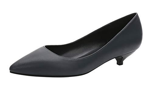 Royou Yiuoer Pumps Damen Classic Slip On Kitten Heels Pointed Toe Hochzeit Kleid Schuhe schwarz 41 EU
