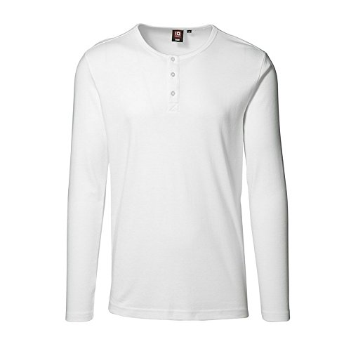 ID Langarmshirt mit Knopfleiste (L, Weiß)