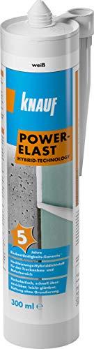 Knauf POWER-ELAST Hochleistungs Hybrid-Dichtstoff zum Verfugen von Anschluss-Fugen – Fugen-Dichtstoff u.a. für Holz, Stein, Mauer-Werk und Gips-Platten, 300 ml