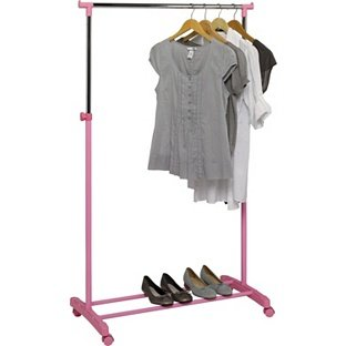 High Quality Adjustable Chrome Plated Clothes Rail - Pink by ChoicefullBargain