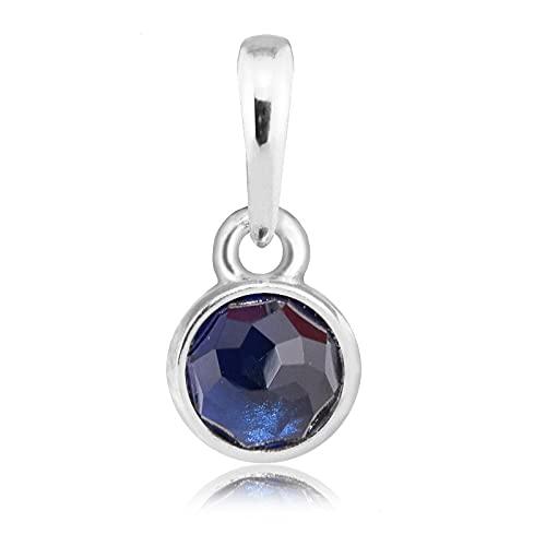 LIIHVYI Pandora Charms para Mujeres Cuentas Plata De Ley 925 Septiembre Deja Colgante De Color Azul Regalo Colorido Compatible con Pulseras Europeos Collars