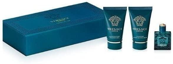 Men's - Versace - Eros Gift Set EDT 50ml 3pc 50ml Eau de Toilette + 50ml Shower Gel + 50ml After Shave Balm