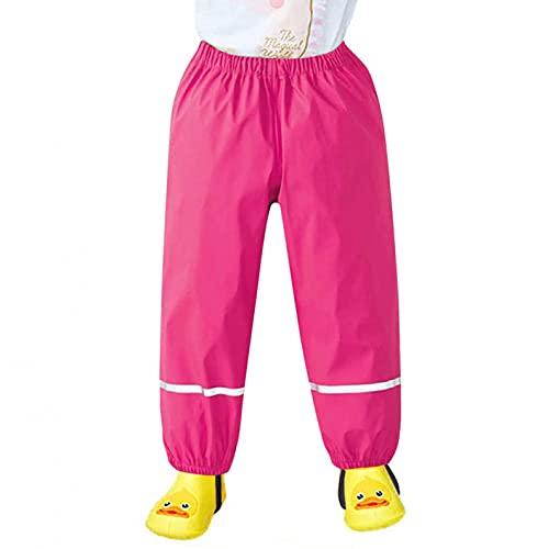 Vexiangni Pantalones de esquí para niña y niño, unisex, para verano, cortavientos e impermeables, transpirables, sin forro, para exteriores, escuela, senderismo, peto, H Hot Pink, M