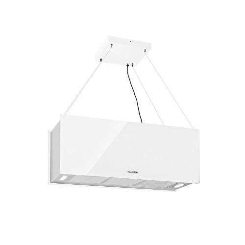 Klarstein Kronleuchter XL Inselabzugshaube, EEK A, 90 x 35 cm (LxB) / 60 cm Abhängung, Umluftbetrieb in 3 Stufen, Touch-Bedienfeld, Umluftleistung: 590 m³/h, LED-Kochflächenbeleuchtung, weiß