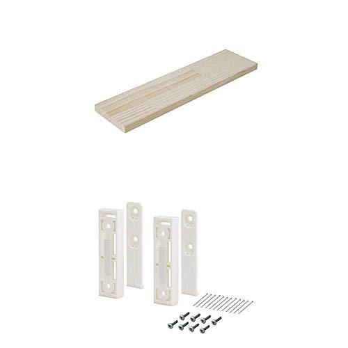 平安伸銅工業 DIY収納パーツ ナゲシレール ブラケット KXO-210 ホワイト 木材セット 幅40 奥行10cm 棚板無塗装
