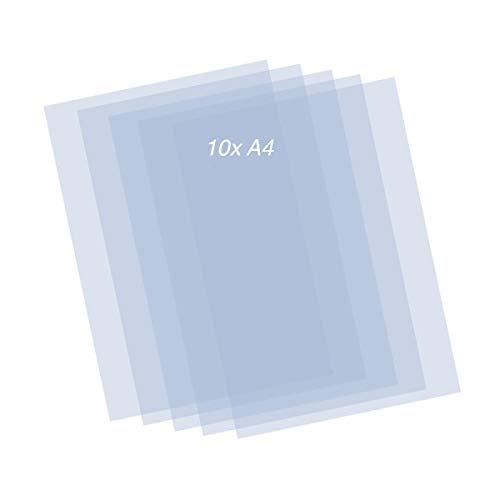 QBIX Hojas de Mylar - 10 piezas de hojas de plantilla de plástico - Hojas A4 transparentes de 0,2 mm - Plantilla de bricolaje-hoja de arte adecuada para corte de plantilla diy