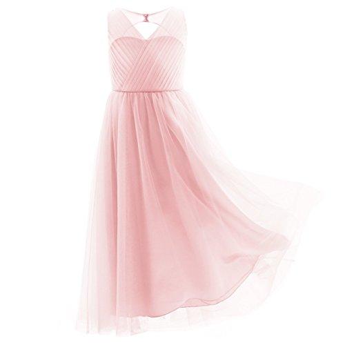 TiaoBug Blumenmädchenkleider für Hochzeits Brautjungfern Tüll Festzug Partei Festliches Kleid für Mädchen 104 116 128 140 152 164 Rosa 122-128