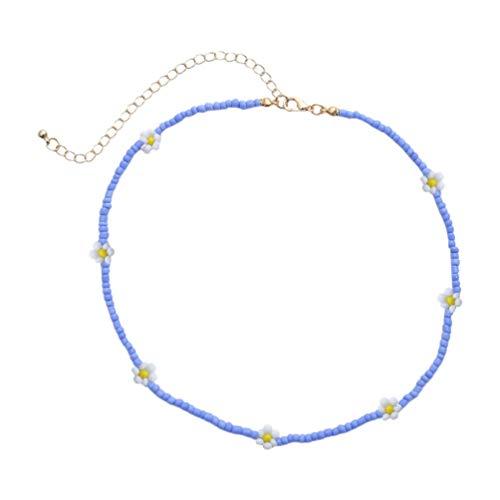 Happyyami Boho Perle Gänseblümchen Halskette Samen Perlen Choker Halskette Bunte Handgemachte Perle für Frauen Und Mädchen Schmuck (Blau)
