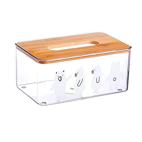 Caja de pañuelos faciales con tapa de madera aplicable para cuarto de baño o sala de estar, caja de pañuelos de escritorio transparente impermeable y a prueba de polvo